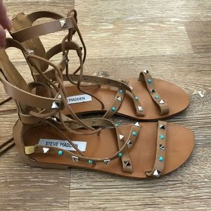 Steve Madden Leather Lace-up Sandals